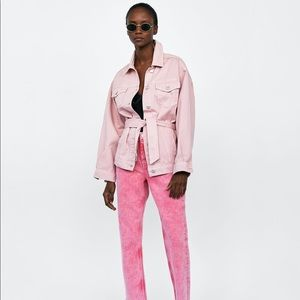 New Zara pink oversized retro fit denim jacket
